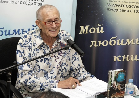 addresses: MOSCOW - AUGUST 3:Evgenie Evtushenko addresses to audience on presentation of the new book