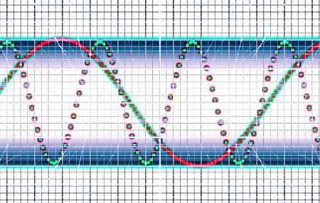 oscilloscope: The abstract image of sound waves on an oscillograph Stock Photo