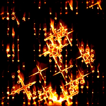bonfire night: Abstract fiery drawing against a dark background Stock Photo