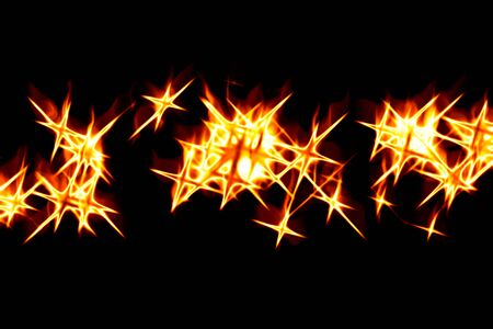 Abstract fiery drawing against a dark background photo