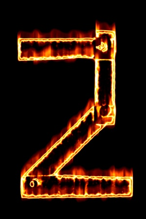 num: Fiery number 2 on a black background