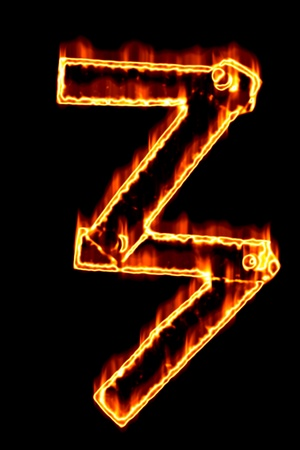 num: Fiery number 3 on a black background Stock Photo