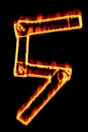 num: Fiery number 5 on a black background Stock Photo