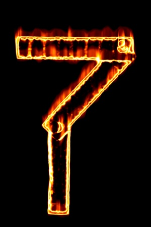 num: Fiery number 7 on a black background Stock Photo