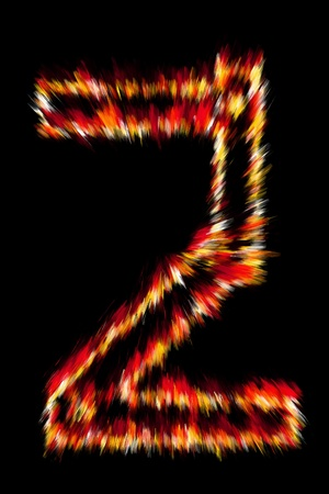 num: Fiery number on a black background