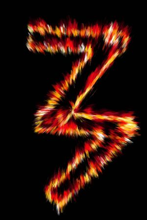 flame alphabet: Fiery number on a black background