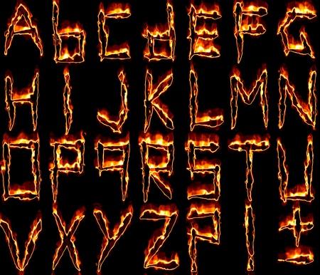 burning alphabet: The alphabet from burning letters Stock Photo