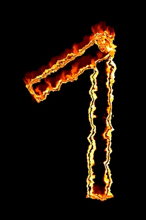 Fiery number on a black background photo