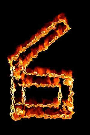 numerical: Fiery number on a black background