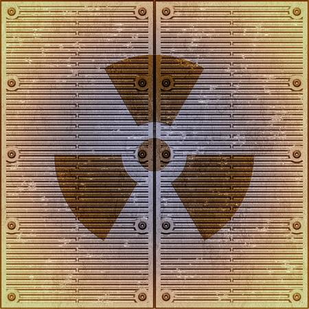 radioattivo: Firmare il pericolo radioattivo su una parete di metallica