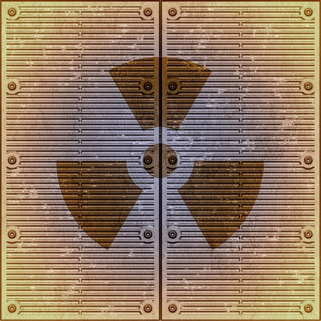 dangerous construction: Sign on radioactive danger on a metal wall Stock Photo