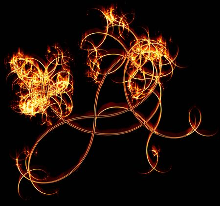 ashes: Fiery branches on a black background