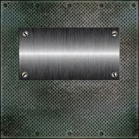 Glossy plate on a corrugated metal surface photo