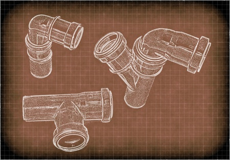 imitation of a drawing of plumbing pipes Stock Photo - 11263484
