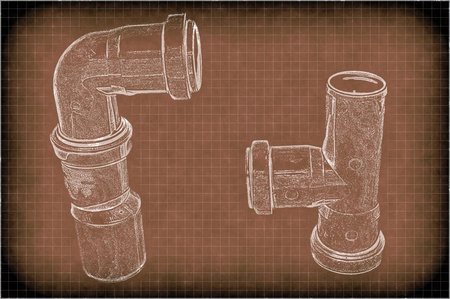 imitation of a drawing of plumbing pipes photo