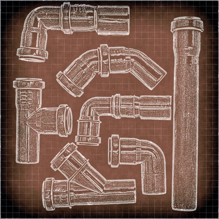 imitation of a drawing of plumbing pipes Stock Photo - 11263490