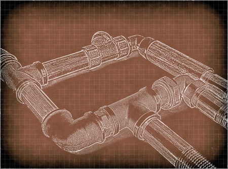 waterpipe: imitation of a drawing of plumbing pipes Stock Photo