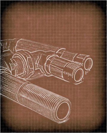imitation of a drawing of plumbing pipes Stock Photo - 11263487