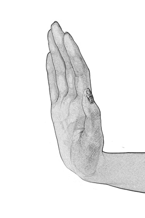 upraised: Forbidding gesture of a hand on a white background