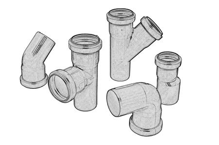 Gray plastic sewer pipes isolated on the white photo