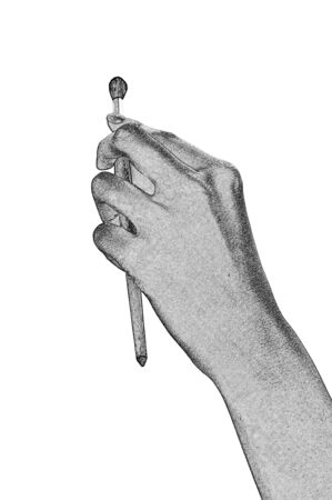 Brush for drawing in a human hand isolated on the white. photo