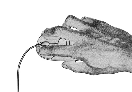 The computer mouse in a hand isolated on the white photo