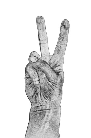 Victory sign on a white background photo