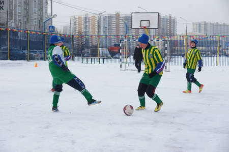 snow field: 2.19.2012 Moscow, area Maryino. Tournament on minifootball on snow among commands of youth and veterans.