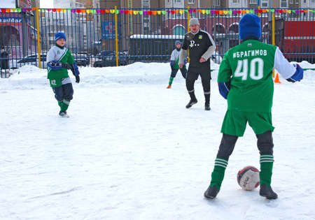 2.19.2012 Moscow, area Maryino. Tournament on minifootball on snow among commands of youth and veterans.