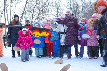 24 02 2012 Moscow. Childrens street holiday in pancake week Stock Photo - 12817620