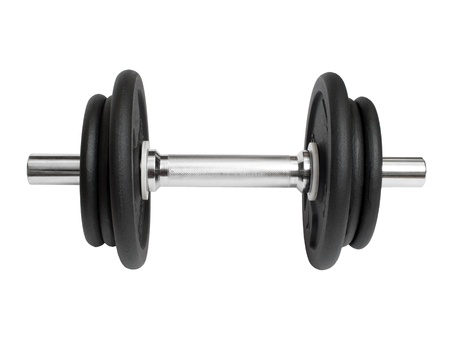 sports metal dumbbell on a white background photo
