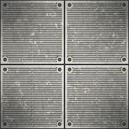 Dark dirty corrugated metal surface illuminated in the center Stock Photo - 12847331