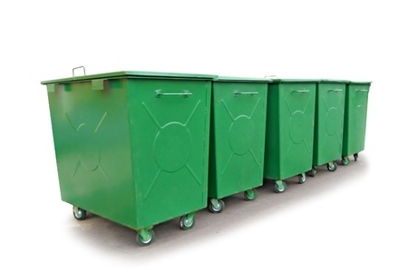 Green metal garbage containers, isolated on the white