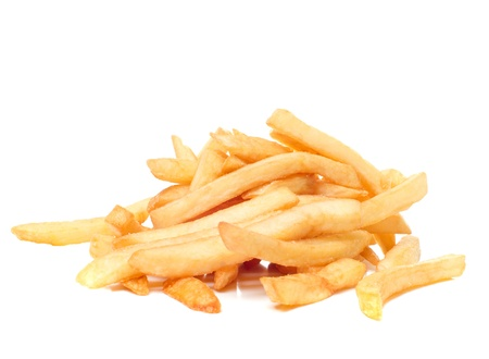 french culture: French fries, it is isolated on the white