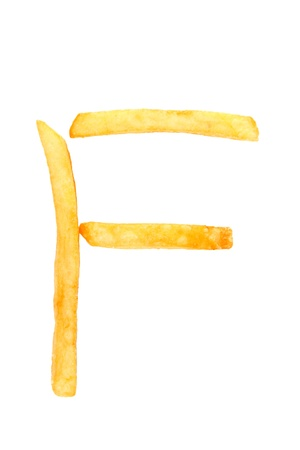 alphabet letter from French fries on the white photo