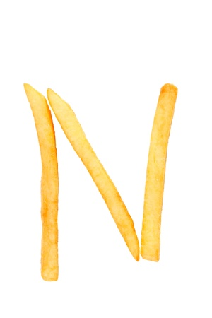 fries: alphabet letter from French fries on the white Stock Photo