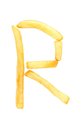 french text: alphabet letter from French fries on the white Stock Photo