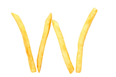 fry: alphabet letter from French fries on the white Stock Photo