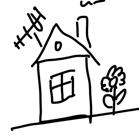 chalk line: drawing of a house