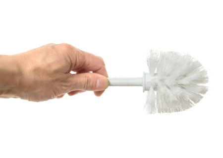 brush for toilet bowl cleaning, it is isolated on the white Stock Photo - 12849880