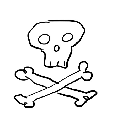 skull with bones, drawing in primitive style photo