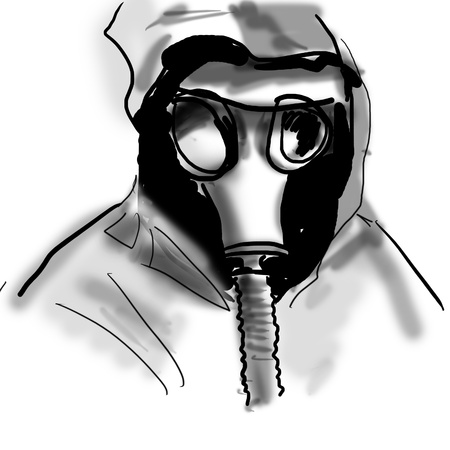 chemical hazard: the man in a gas mask