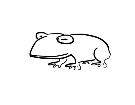 tadpole: drawing of a toad on the white