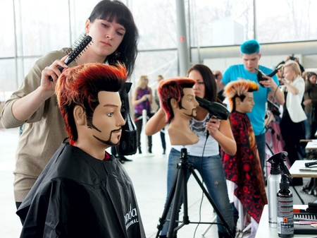 The XV Championship of Moscow on hairdressers art, decorative cosmetics, modeling and design of nails Stock Photo - 13021852