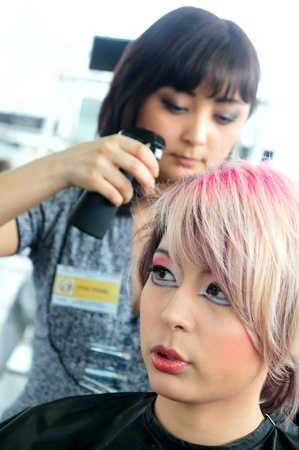 The XV Championship of Moscow on hairdressers art, decorative cosmetics, modeling and design of nails Stock Photo - 13021862
