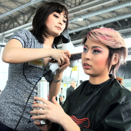 The XV Championship of Moscow on hairdressers art, decorative cosmetics, modeling and design of nails Stock Photo - 13021864