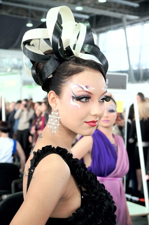 The XV Championship of Moscow on hairdressers art, decorative cosmetics, modeling and design of nails Stock Photo - 13021907