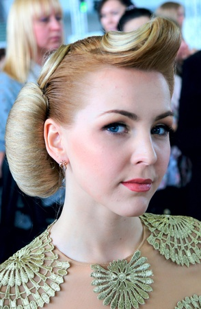 The XV Championship of Moscow on hairdressers art, decorative cosmetics, modeling and design of nails Stock Photo - 13021909