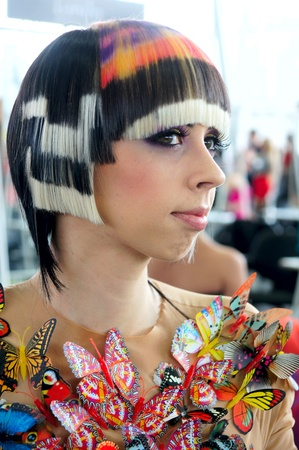 The XV Championship of Moscow on hairdressers art, decorative cosmetics, modeling and design of nails Stock Photo - 13021914