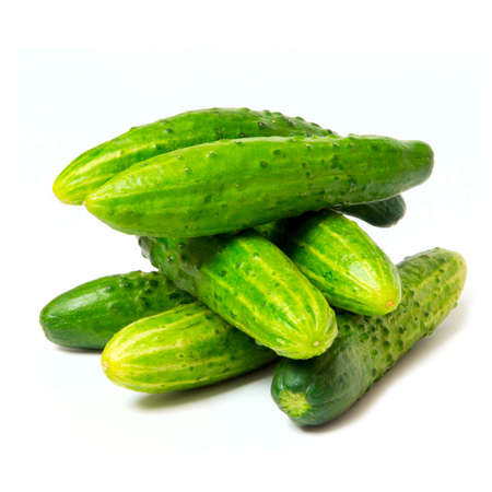 fresh green cucumbers, isolated on the white Stock Photo - 13506200